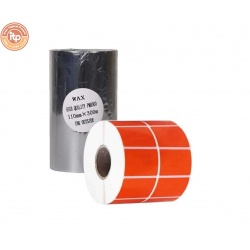 برچسب نارنجی پرینتر لیبل زن لیوکام مدل 51X34 به همراه یک عدد ریبون Wax مدل 110X300